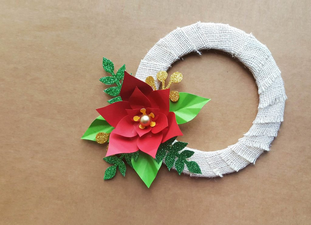 Easy Christmas Crafts for Kids - Homemade Poinsettia Wreath